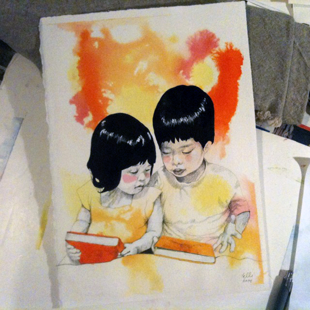 siblings, painting, portrait, 2014