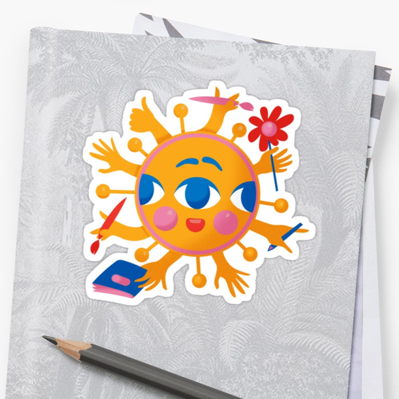 Multitalented Sun Shines Trough - sticker at Redbubble store // Design by Elli Maanpää 2018
