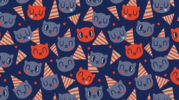 Memphis Birthday Cat - Pattern: Navy // Elli Maanpää Design Talk // 2018