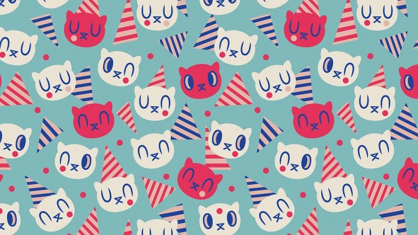 Memphis Birthday Cat - Pattern: Turquoise // Elli Maanpää Design Talk // 2018