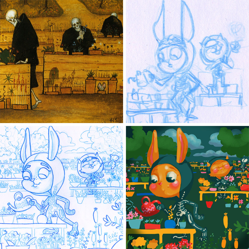 From top left: The original painting Garden of Death by Hugo Simberg // Up Right: Thumbnail sketch // Down Left: Blue col-erase drawing // // Down Right: Colours in Photoshop // Elli Maanpää Childhood Week Illustrations 2018