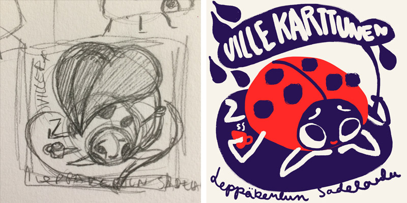 Thumbnail sketch (left) and digital sketch (right) // Ladybug Illustration for Ville Karttunen - Elli Maanpää 2018