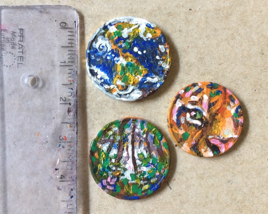 Elli Maanpää: Invest In Nature, Acrylic paint on euro coins, 2019