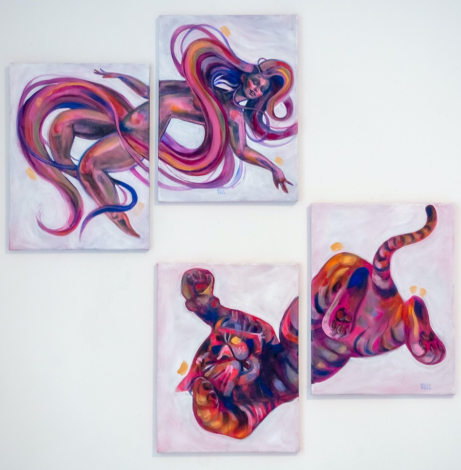 Elli Maanpää: Loop: The Bipolarity of Creativity, Acrylic paint on 4 canvases, 4x30x40cm, 2020
