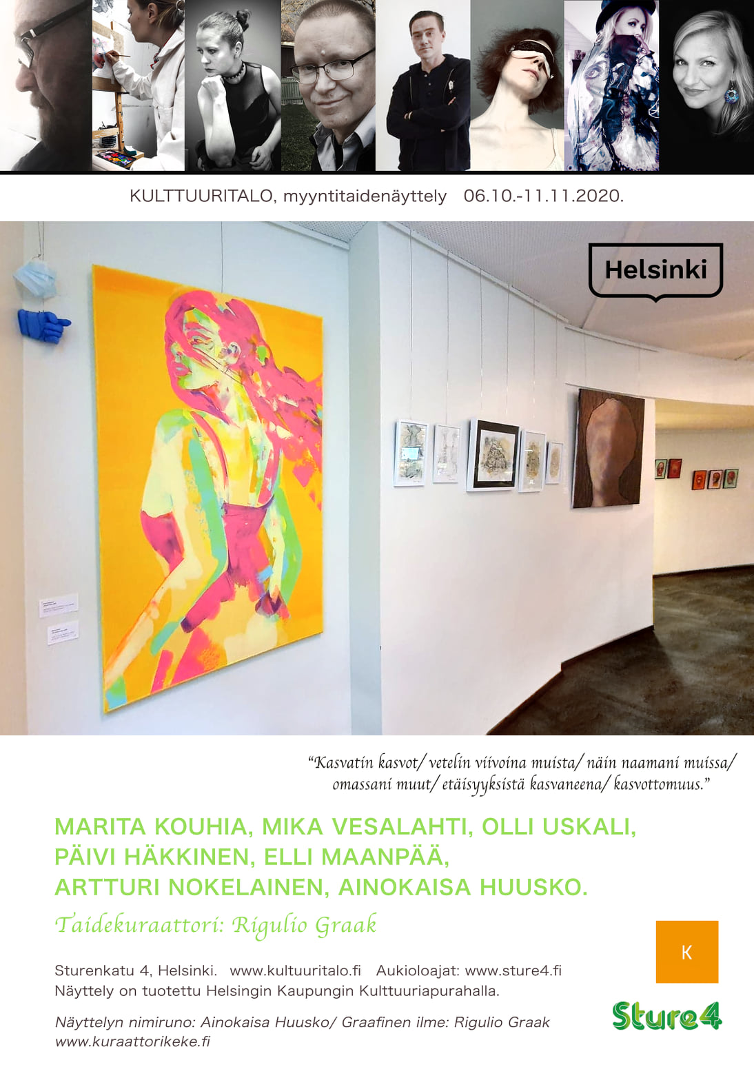 "Group Show ""Faces"" in Kulttuuritalo until 11th of November 2020"
