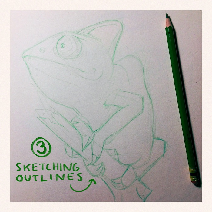 How draw from reference: Color pencil drawing of a Gecko 2019 by Elli Maanpää