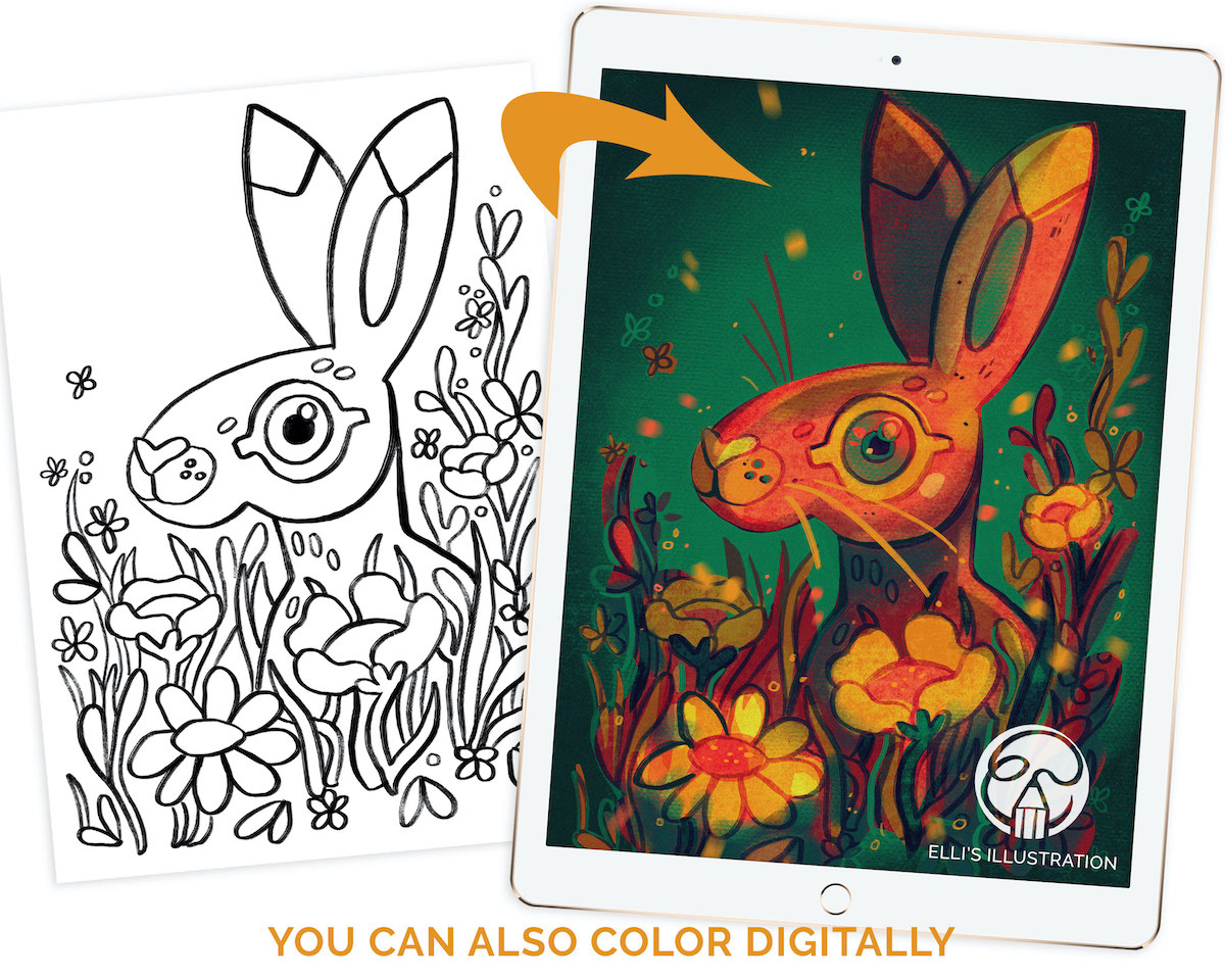 Printable Digital Coloring Pages for kids from Elli Maanpää. Easy to color also digitally.