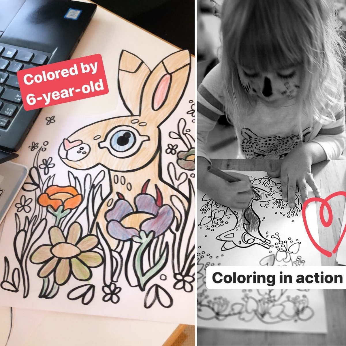 Printable Digital Coloring Pages for kids: animals, bunnies and other cute creatures.
