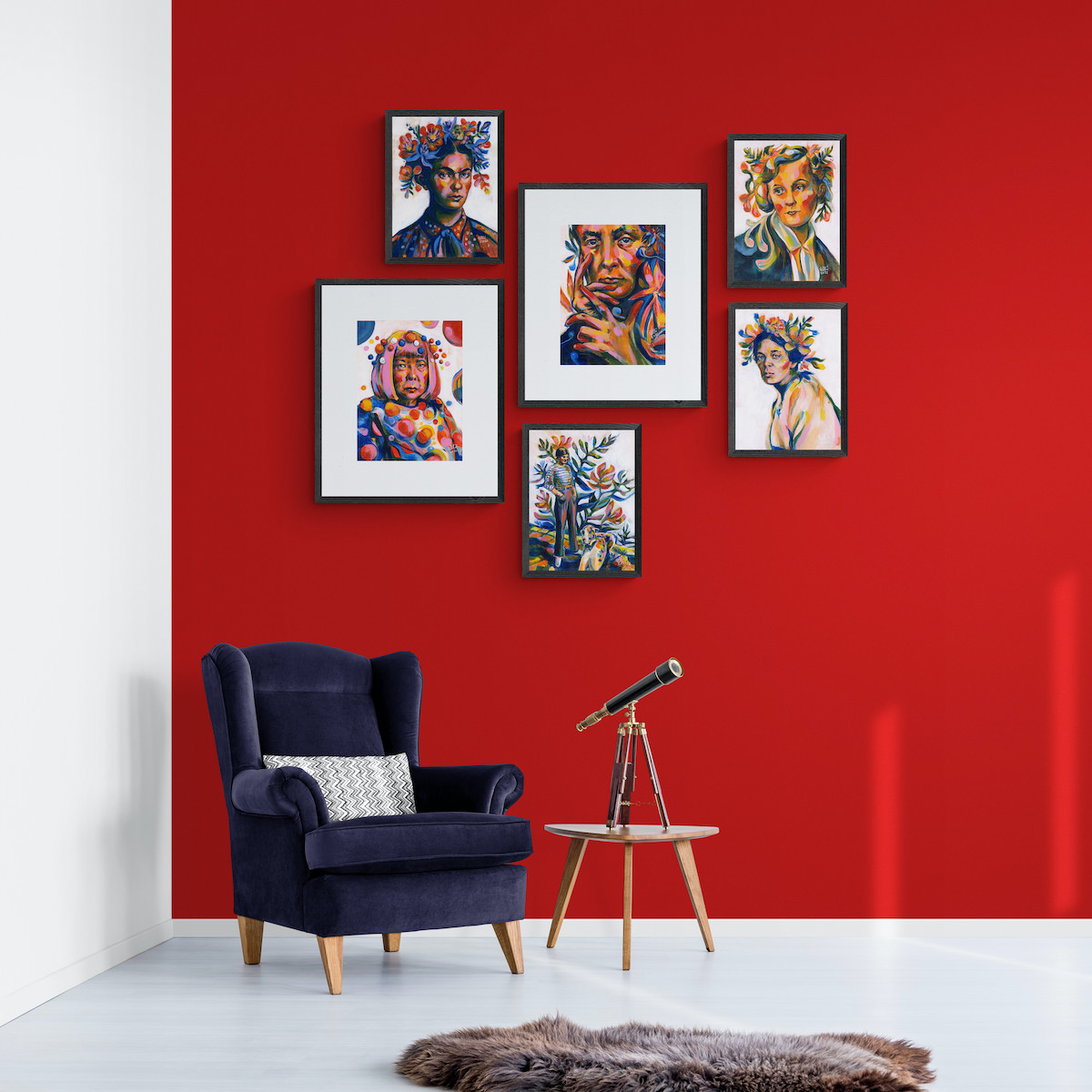 Art Prints with girl power to your statement living room. Interior design mockup. Elli Maanpää. 2021