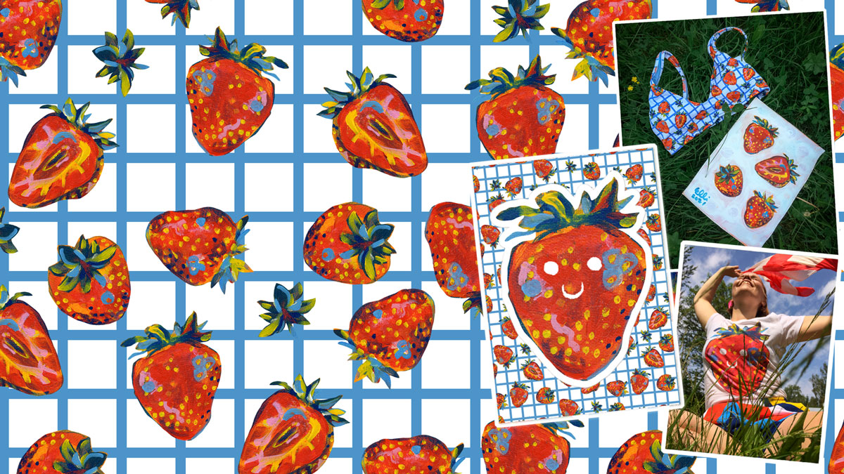 Strawberry Picnic -pattern and print: used in bikini top, sticker sheet and t-shirt. Products available in my Shop.